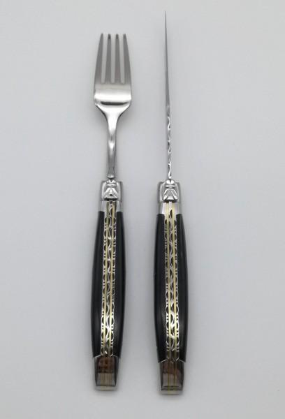 Steakbesteck Büffelhorn Doppelplatine